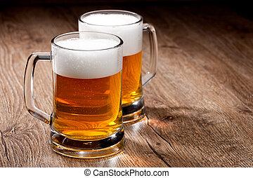 木製である, ガラス, ビール, 2, テーブル