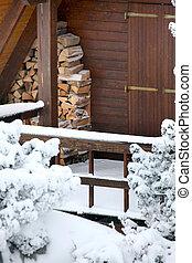 木製である, キャビン, 中に, ∥, 雪