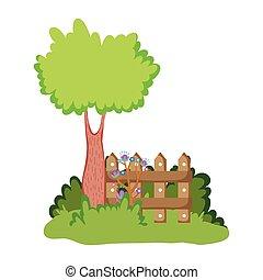 木製である, キャンプ, 木, フェンス