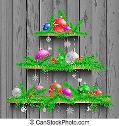 木製である, クリスマスツリー, 3, 棚