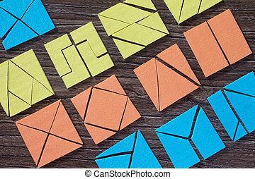 木製である, ゲーム, 子供, 上, コピー, space., 広場, 困惑, 早く, 光景, テーブル。, tangram, 概念, development.