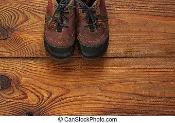 木製である, コピー, ブーツ, 革, 子供, 背景, space., 光景, 上