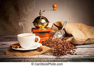 木製である, コーヒー, まだ, 粉砕器, 生活