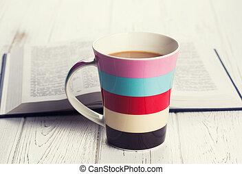 木製である, コーヒー, 背景, カップ