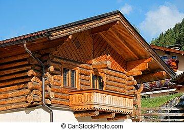 木製である, シャレー, バルコニー, 高山