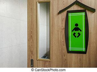 木製である, シンボル, 緑の背景, 赤ん坊, toilet.