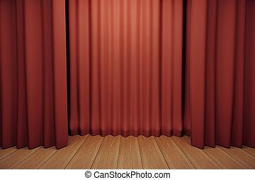 木製である, ステージ, 現場, 赤, 床