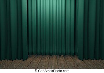 木製である, ステージ, 緑, 現場, 床