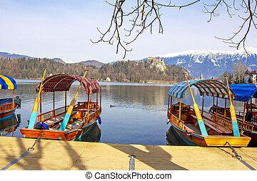 木製である, スロベニア, ボート, 湖, 伝統的である, 出血させる