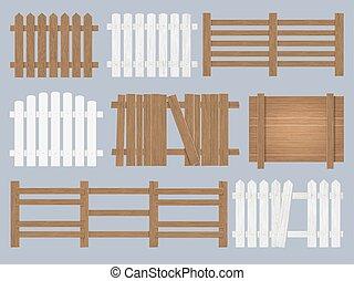 木製である, セット, フェンス