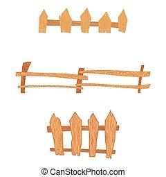 木製である, セット, フェンス, 漫画