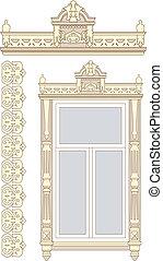木製である, セット, 窓。, 装飾
