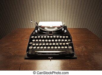 木製である, タイプライター, 古い, 机