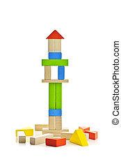 木製である, タワーの ブロック