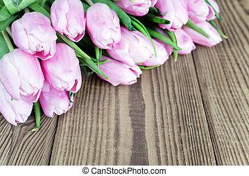 木製である, チューリップ, 花, 背景
