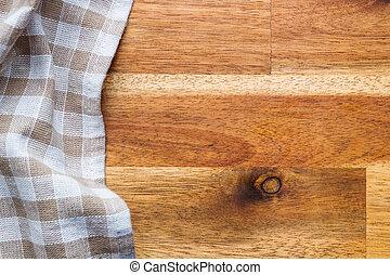 木製である, テーブルクロス, checkered, テーブル。, 上に