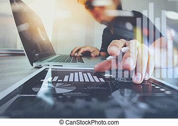 木製である, デザイン, ウェブサイト, タブレット, デジタル, コンピュータ, デザイナー, ラップトップ, 仕事, 概念, 図, 机