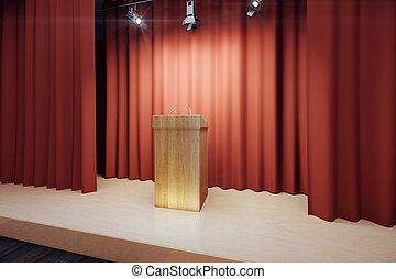 木製である, トリビューン, 現場, 赤, ステージ