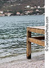木製である, ドック, 海, 背景