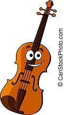 木製である, バイオリン, 幸せに微笑する