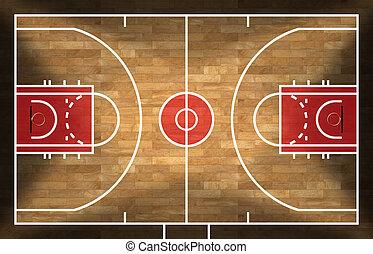 木製である, バスケットボールコート, 寄せ木張りの床