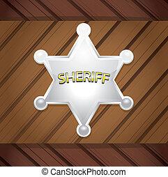木製である, バックグラウンド。, ベクトル, バッジ, sheriff's