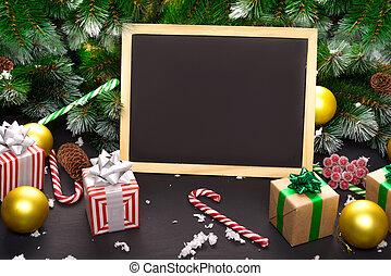 木製である, バックグラウンド。, 贈り物の箱, 暗い, あなたの, 装飾, 上, ブランチ, text., コピー, 光景, 板, スペース, 木, クリスマス