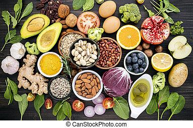 木製である, バックグラウンド。, 食物, 原料, 食物, selection., 健康, の上, セット, 概念