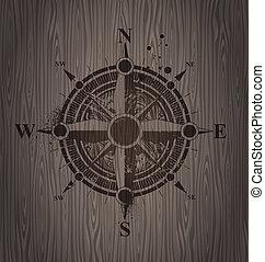 木製である, バラ, 壁, ベクトル, コンパス, 絵