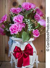 木製である, バラ, 花, 背景