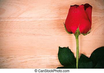 木製である, バラ, 花, 赤い背景