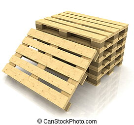 木製である, パレット, 上に, ∥, 白い背景