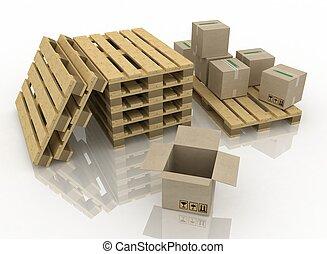 木製である, パレット, 箱, ボール紙