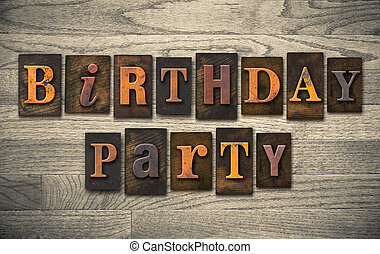 木製である, パーティー, 概念, 凸版印刷, birthday