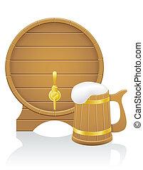 木製である, ビール, イラスト, 大袈裟な表情をしなさい, ベクトル, 樽