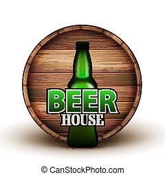 木製である, ビール, ベクトル, びん, 樽, 旗