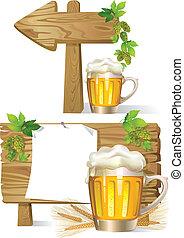 木製である, ビール, 板, 印