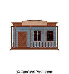 木製である, ファサド, ベクトル, ブランク, 小さい家, signboard., 古い, 西部, 建物。, 平ら, theme., アイコン, 建築