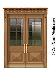 木製である, ファサド, 入口, 古い, ドア