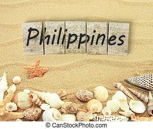 木製である, フィリピン, 海, 小片, 砂, 殻, 板