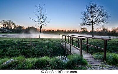 木製である, フィート, 湖, 橋