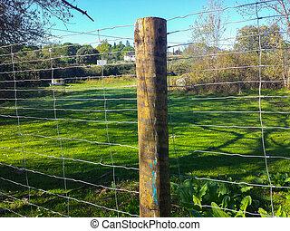 木製である, フィールド, ポスト, フェンス