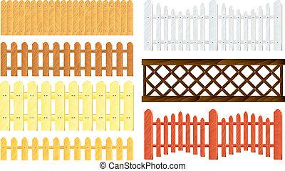 木製である, フェンス, ベクトル, セット