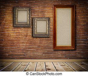 木製である, フレーム, 上に, a, レンガ, wall.