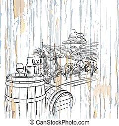 木製である, ブドウ園, 背景, ワイン