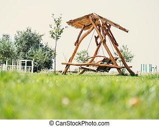 木製である, ブラウン, 庭, 振動, ベンチ