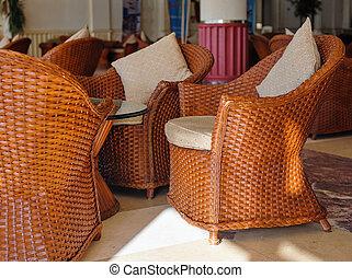 木製である, ブラウン, 椅子, クッション, ロビー