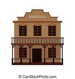 木製である, ベクトル, デザイン, ブランク, signboard., 古い, house., 大広間, ポーチ, 西部, 西, 平ら, バルコニー, 野生