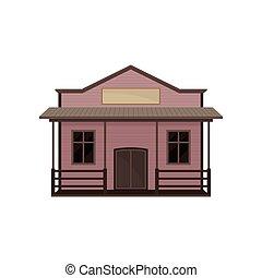 木製である, ベクトル, ブランク, 小さい家, signboard., 古い, 西部, ポーチ, 建物。, saloon., 西, 平ら, アイコン, 野生