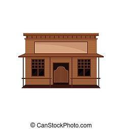 木製である, ベクトル, 振動, 小さい, ブランク, signboard., 古い, 家, 大広間, ドア, 西, 平ら, porch., アイコン, 野生